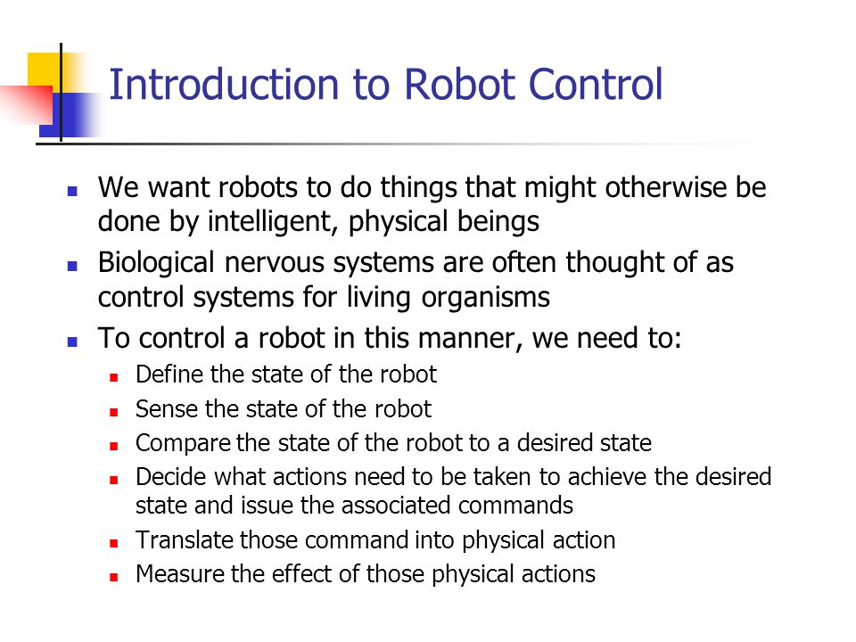 Introduction to Robot Control