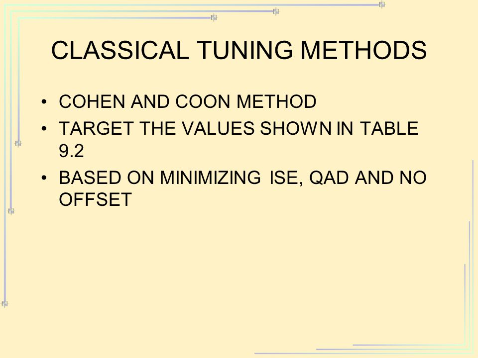 Classical Tuning Methods