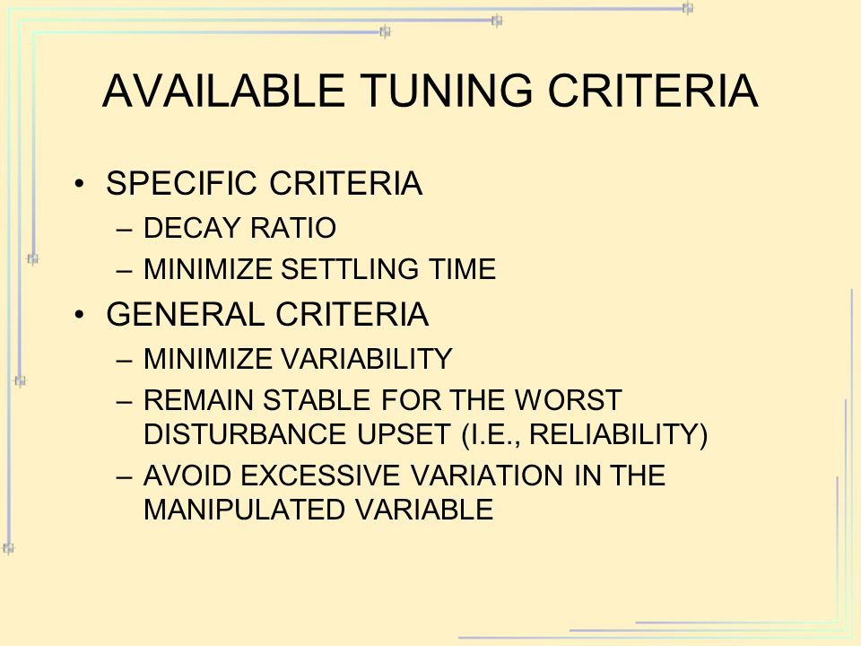Available Tuning Criteria