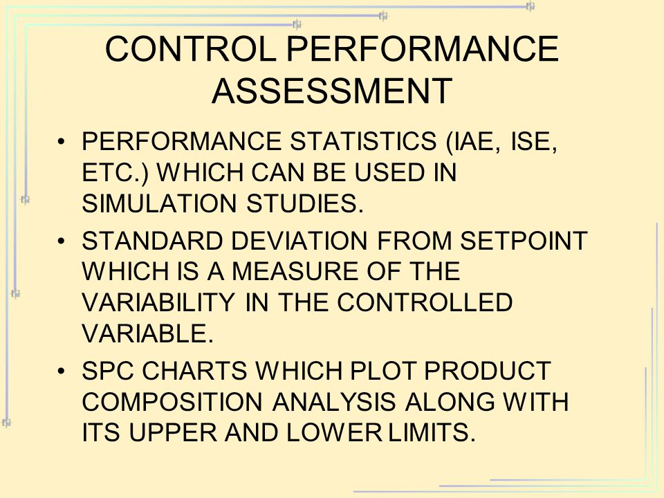 Control Performance Assessment