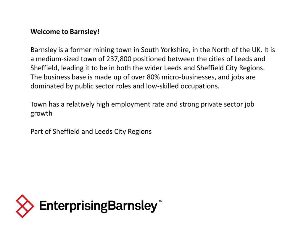Welcome to Barnsley! Barnsley is a former mining town in South