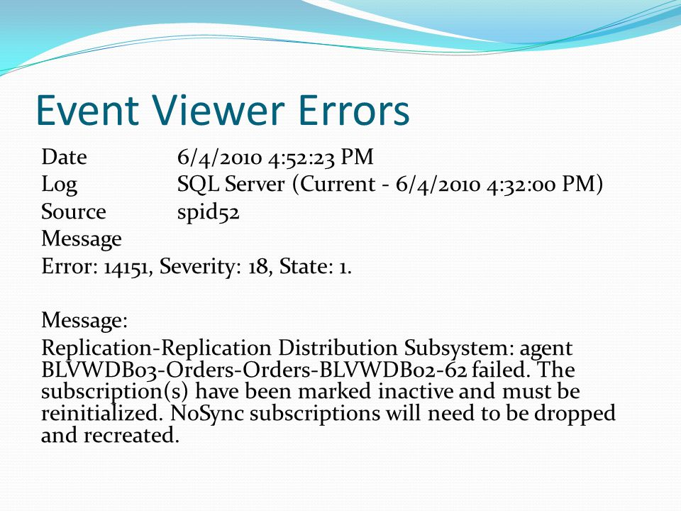 Event Viewer Errors Date 6/4/2010 4:52:23 PM