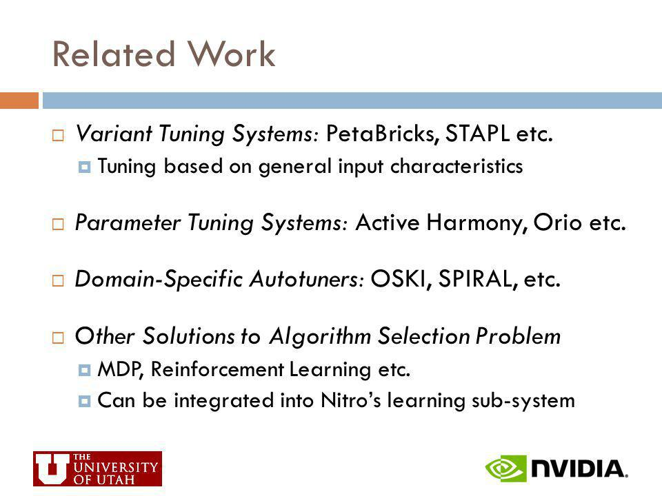 Related Work Variant Tuning Systems: PetaBricks, STAPL etc.