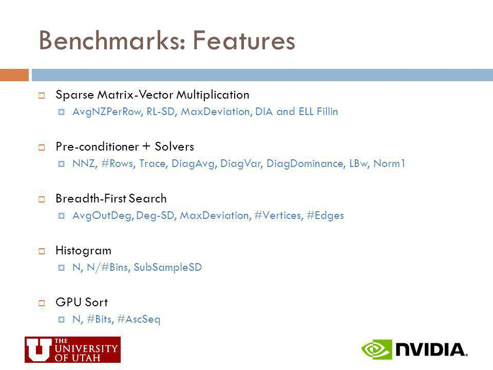Benchmarks: Features Sparse Matrix-Vector Multiplication