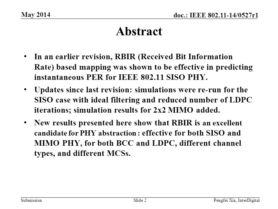Month Year doc.: IEEE 802.11-yy/xxxxr0. May 2014. Abstract.
