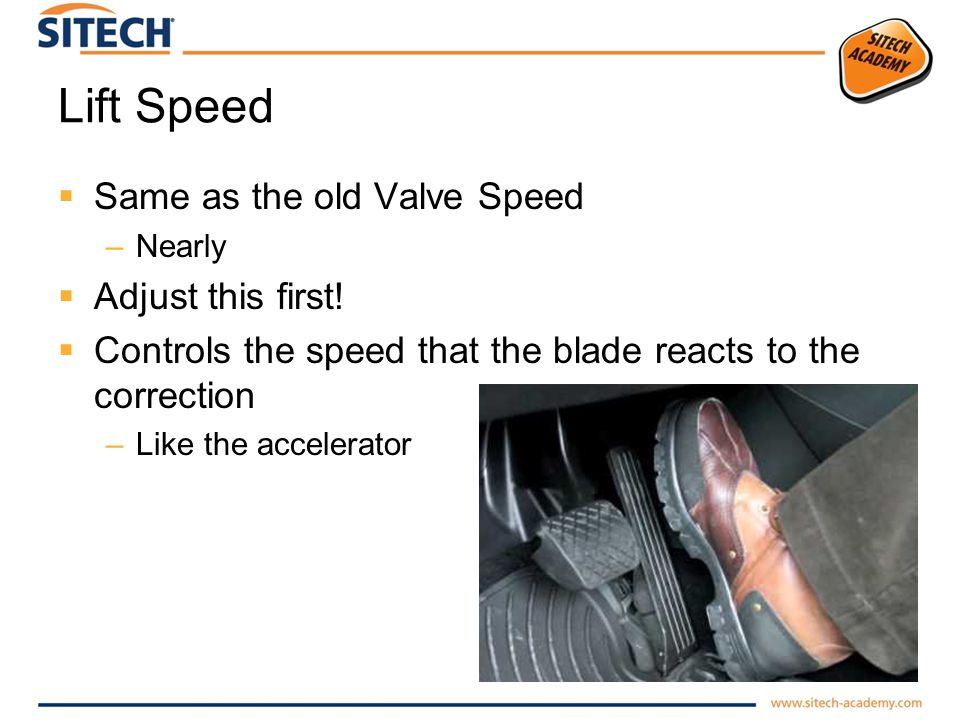 Lift Speed Same as the old Valve Speed Adjust this first!