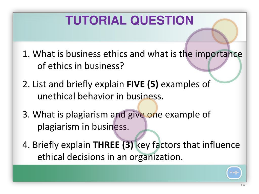 TUTORIAL QUESTION 1  What is business ethics and what is the