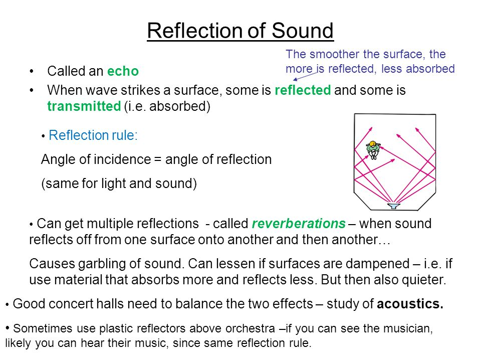 Reflection of Sound Called an echo