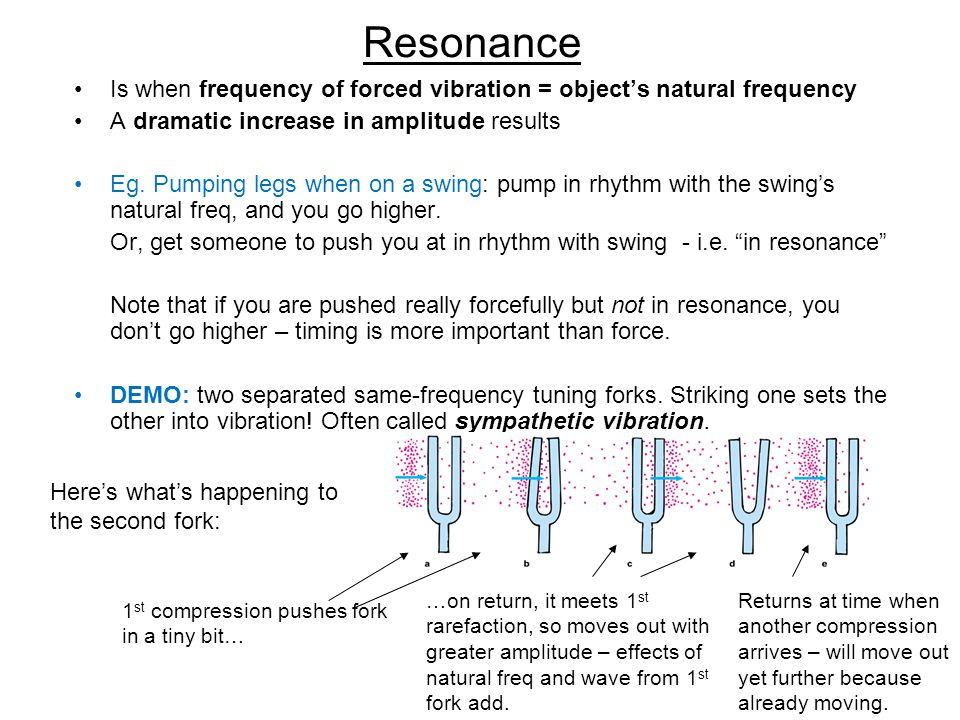 Resonance Is when frequency of forced vibration = object's natural frequency. A dramatic increase in amplitude results.