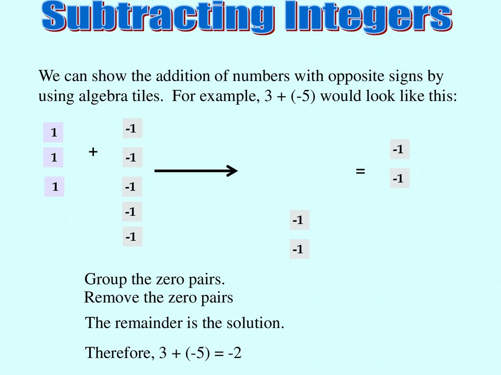 Adding And Subtracting Integers Ppt Download Addition of integers using algebra tiles