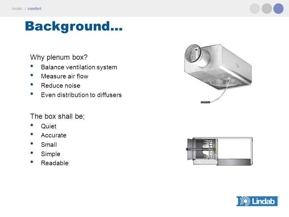 Background... Why plenum box The box shall be;