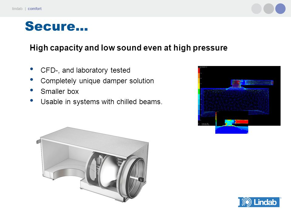 Secure... High capacity and low sound even at high pressure