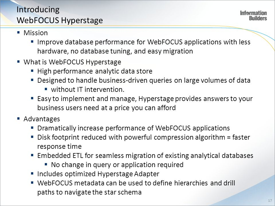 Introducing WebFOCUS Hyperstage