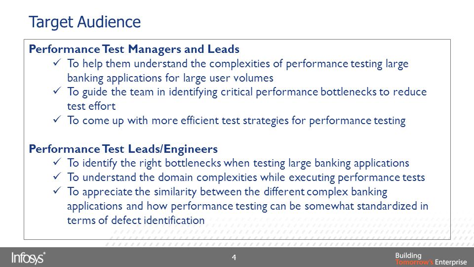 Target Audience Performance Test Managers and Leads