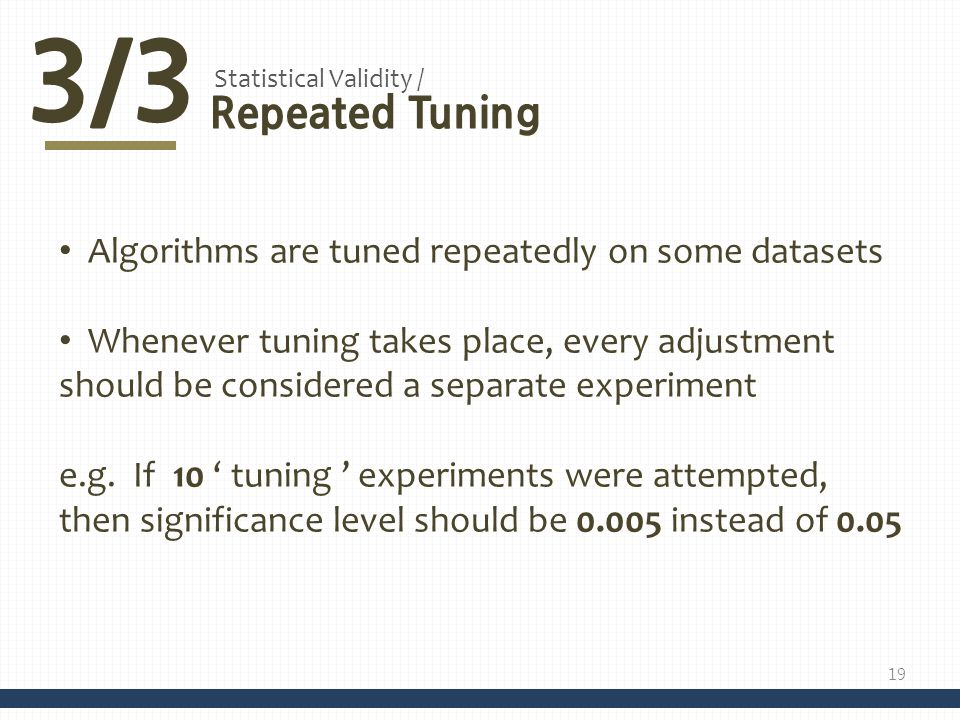3/3 Repeated Tuning Algorithms are tuned repeatedly on some datasets