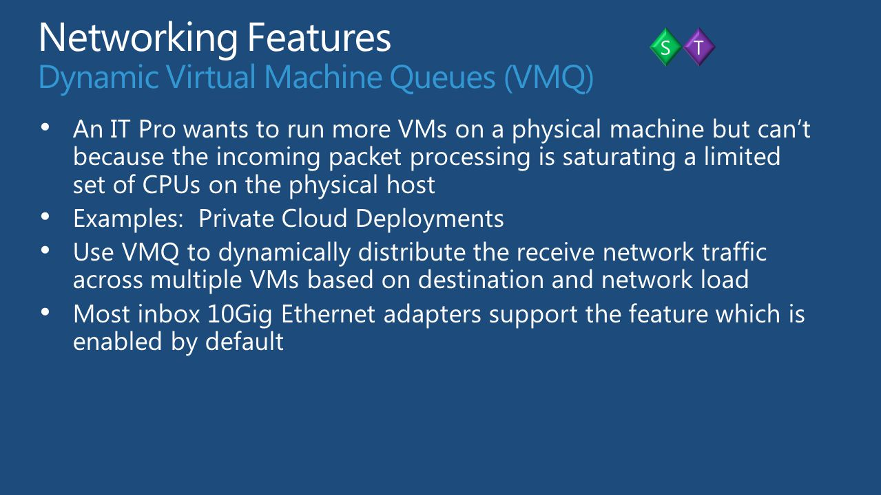 Networking Features Dynamic Virtual Machine Queues (VMQ)