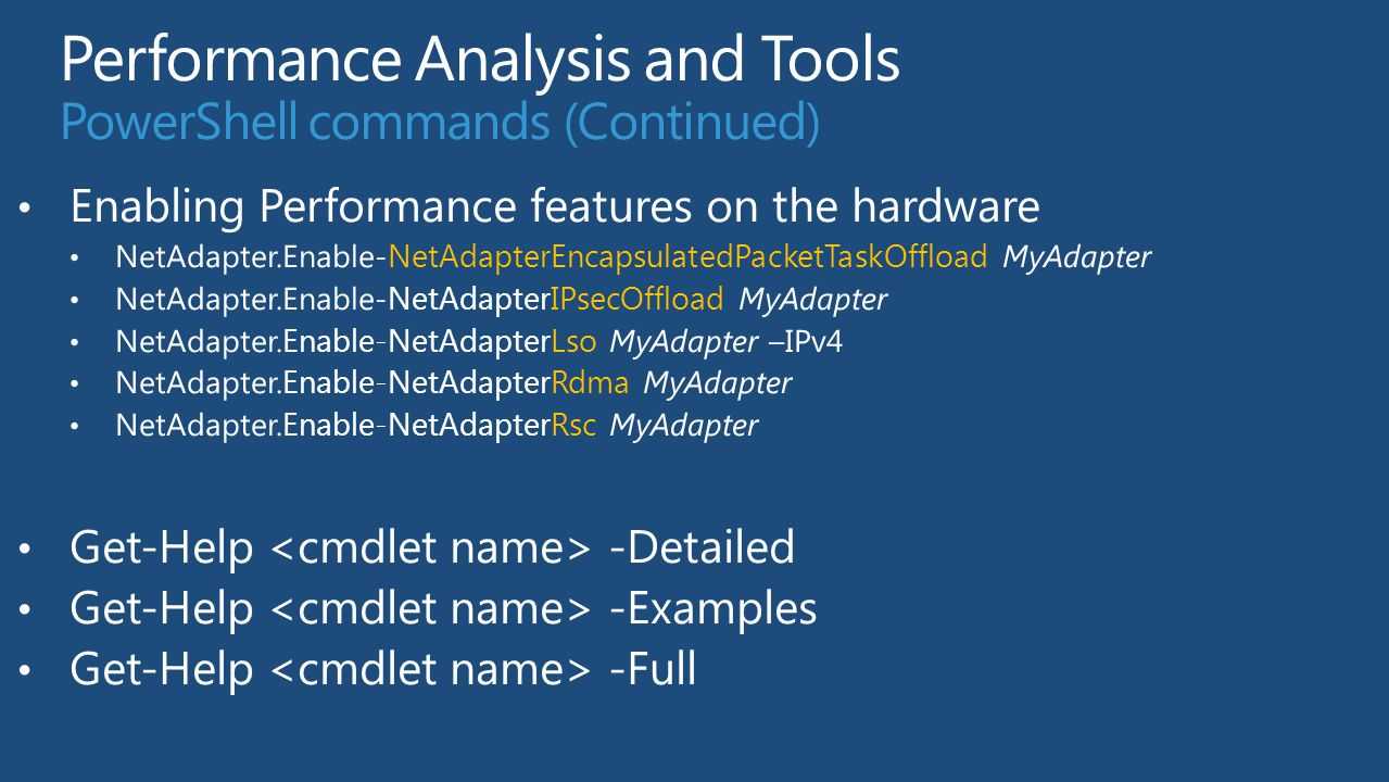 Performance Analysis and Tools PowerShell commands (Continued)