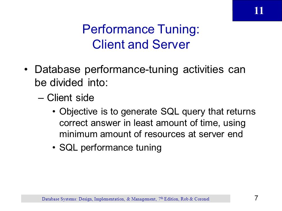 Performance Tuning: Client and Server