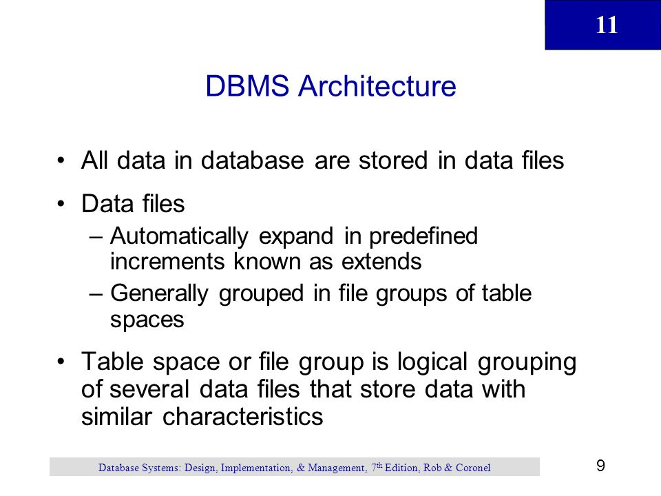 DBMS Architecture All data in database are stored in data files