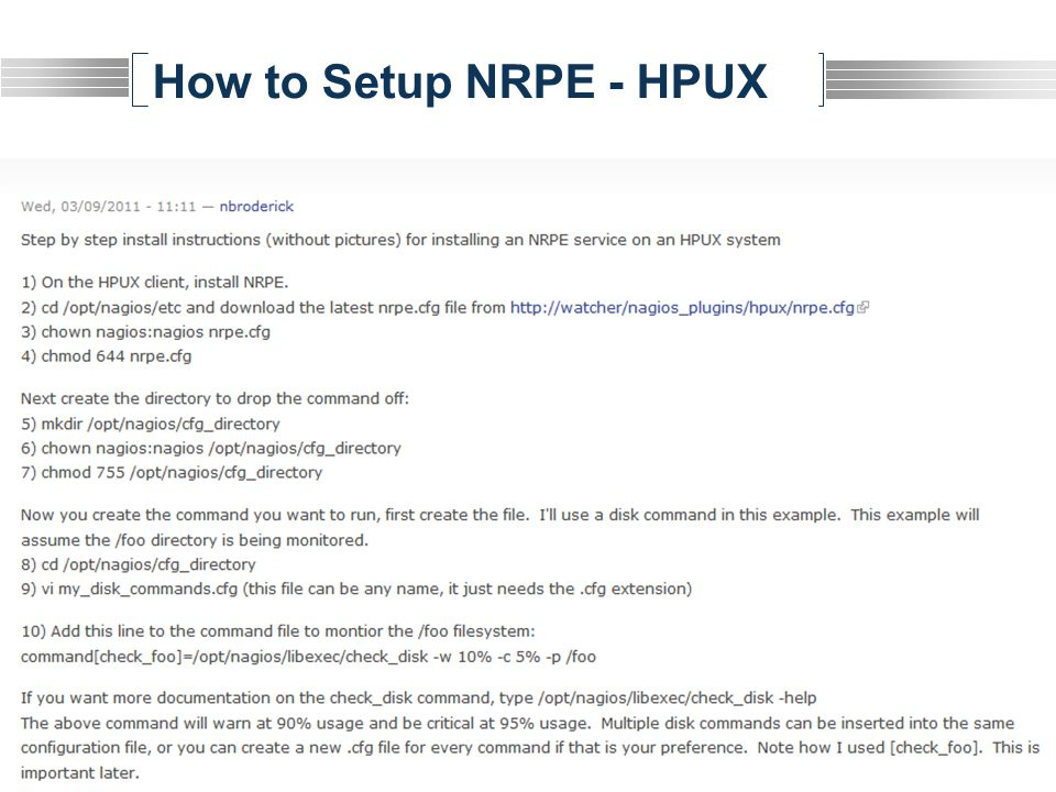 How to Setup NRPE - HPUX