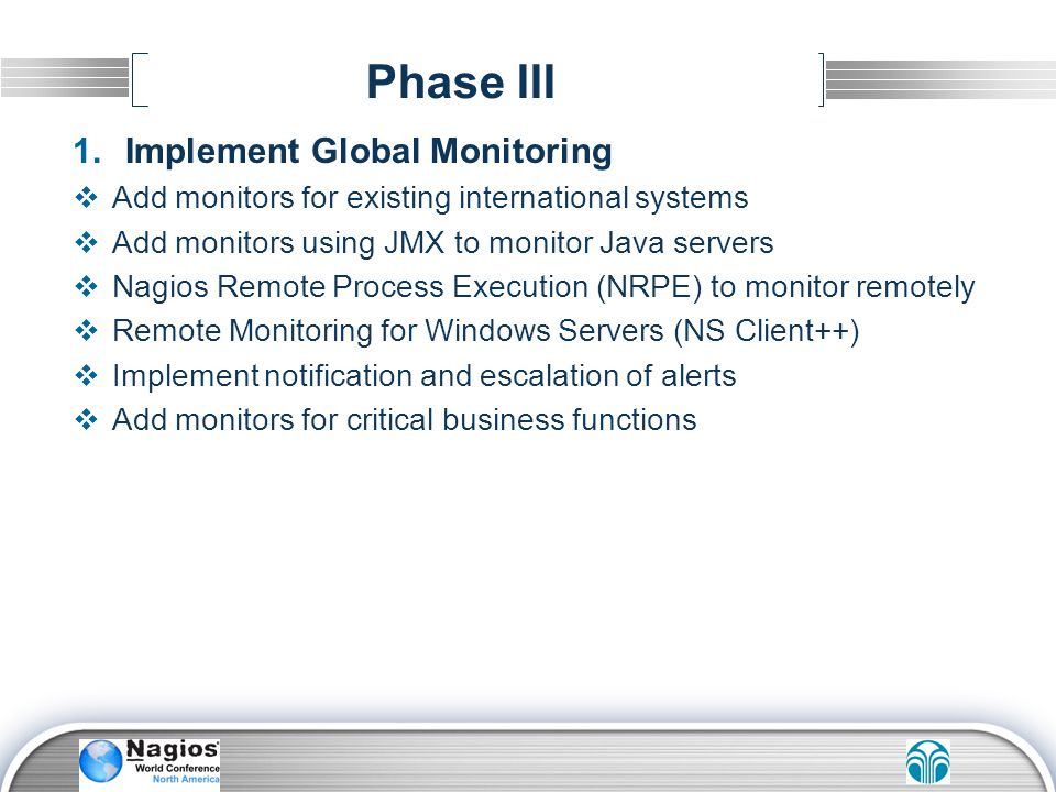 Phase III Implement Global Monitoring