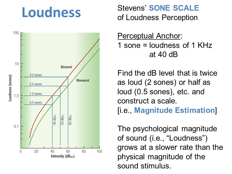 Loudness Stevens' SONE SCALE of Loudness Perception Perceptual Anchor: