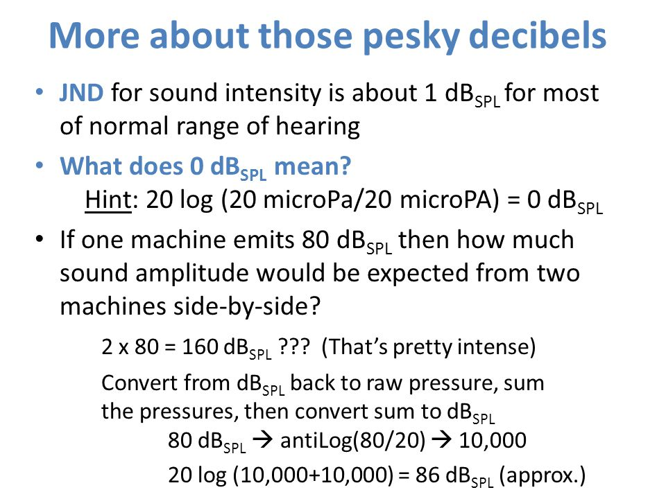 More about those pesky decibels