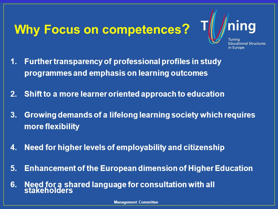 Why Focus on competences
