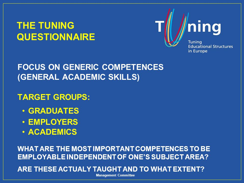 THE TUNING QUESTIONNAIRE