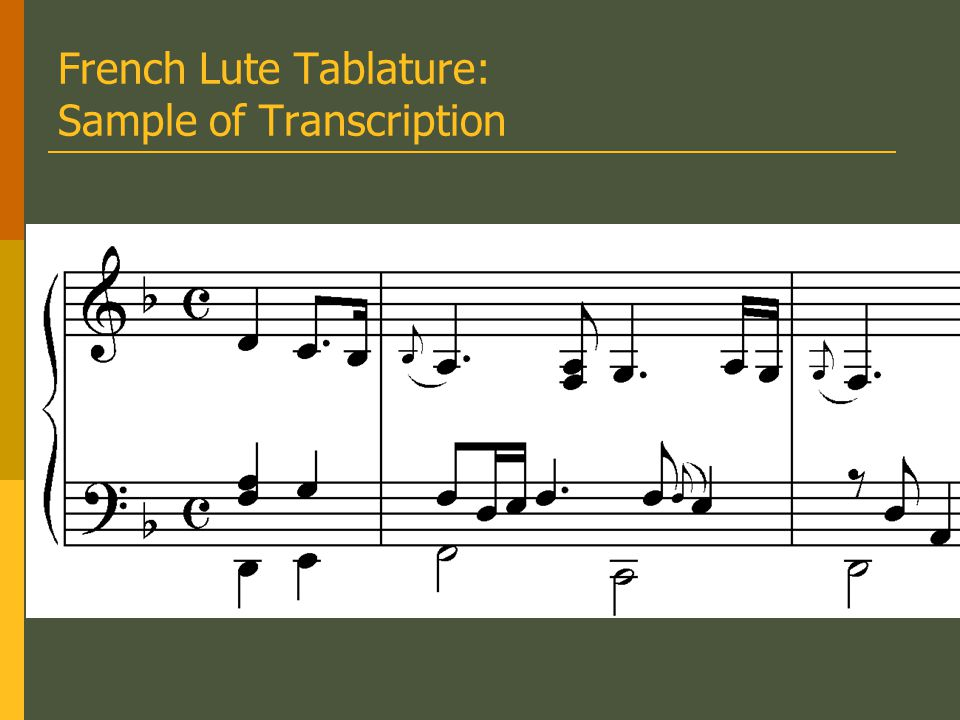 Tablature Notation The earliest known printed example of German lute