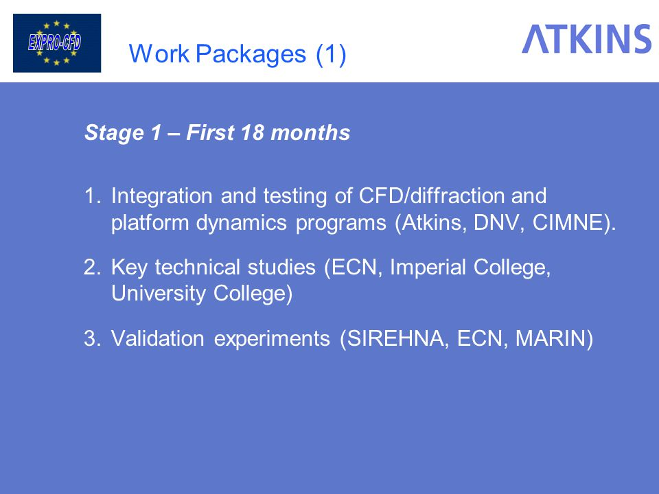 Work Packages (1) Stage 1 – First 18 months