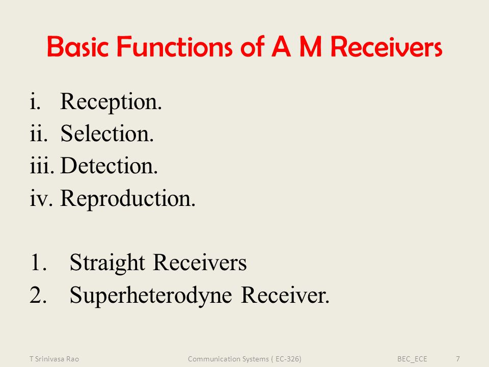 Basic Functions of A M Receivers