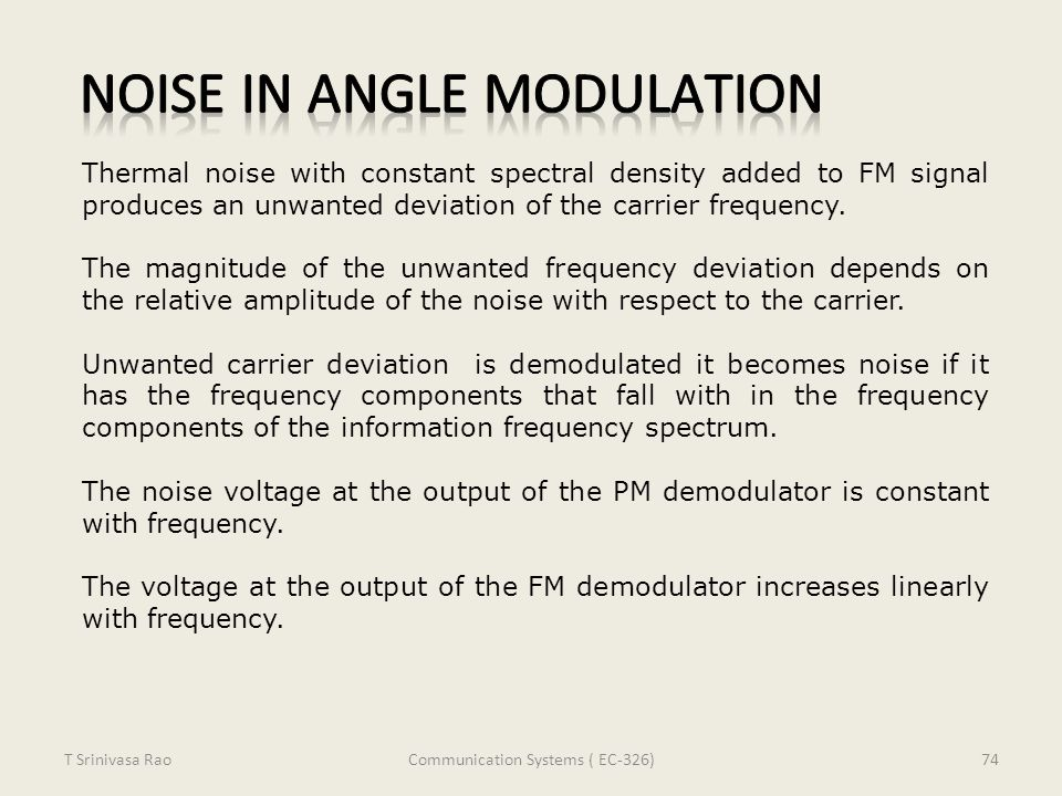 Noise in Angle Modulation
