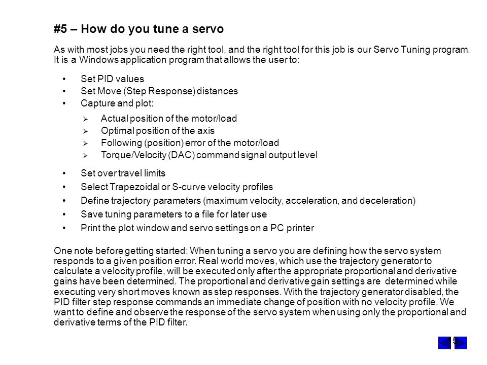 #5 – How do you tune a servo