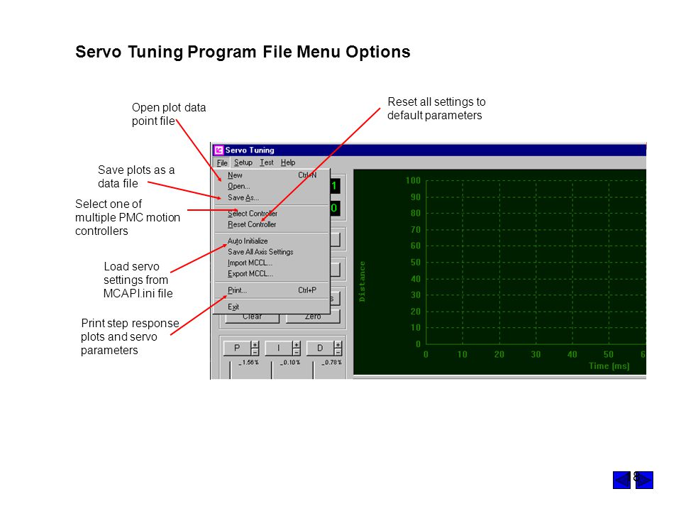 Servo Tuning Program File Menu Options