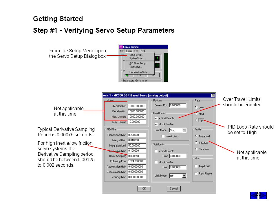 Step #1 - Verifying Servo Setup Parameters