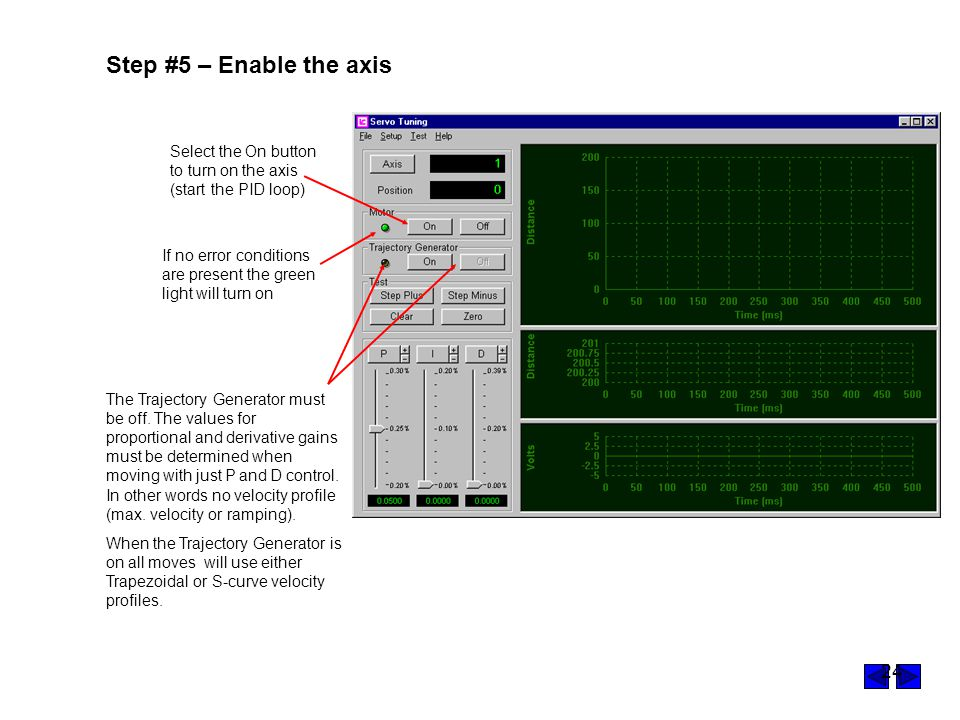 Step #5 – Enable the axis Select the On button to turn on the axis (start the PID loop)