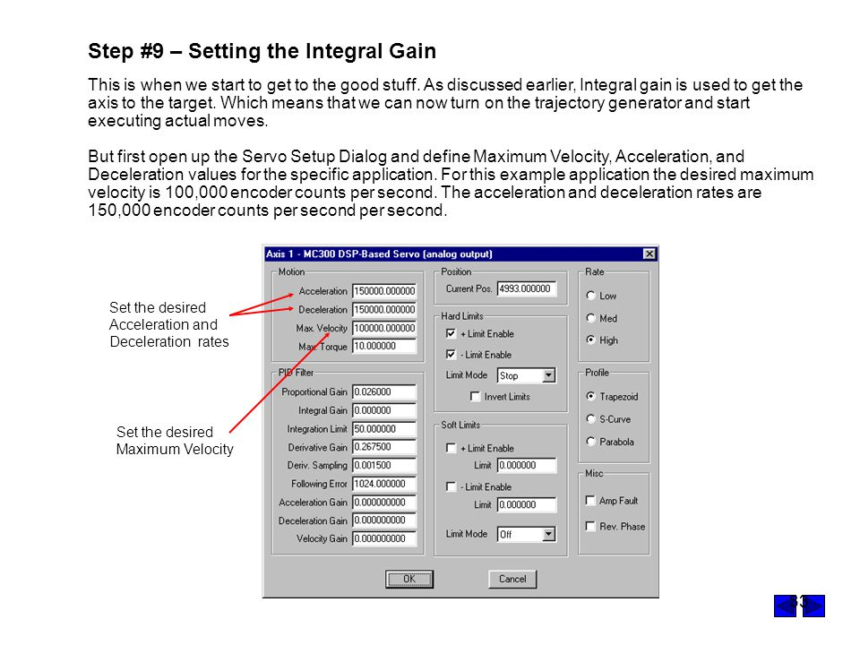 Step #9 – Setting the Integral Gain