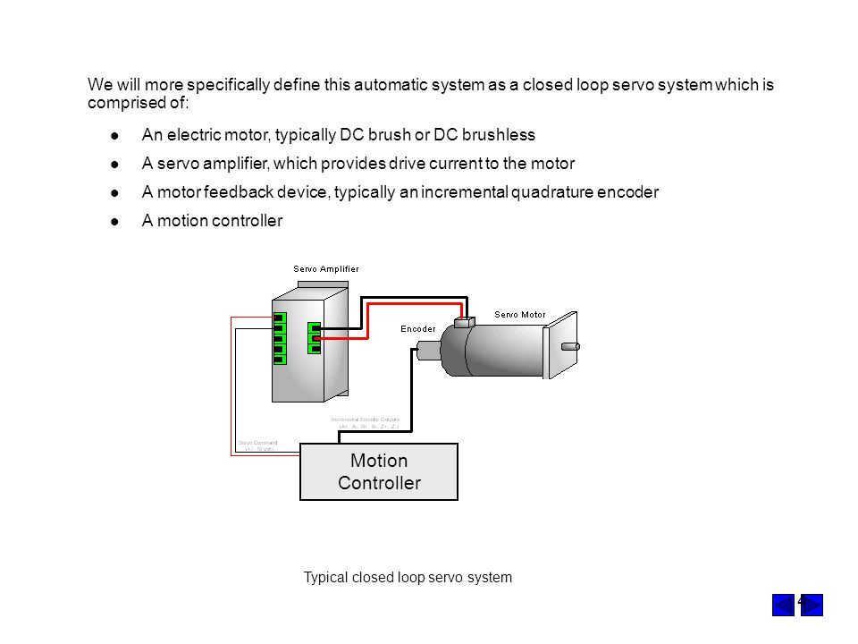 We will more specifically define this automatic system as a closed loop servo system which is comprised of: