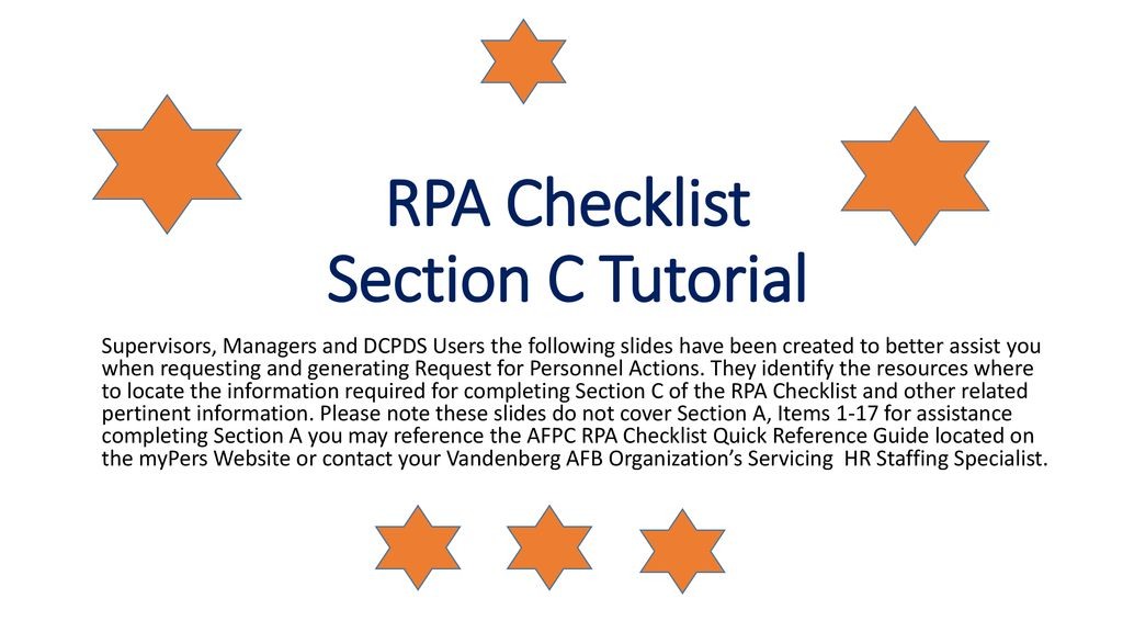 RPA Checklist Section C Tutorial - ppt download