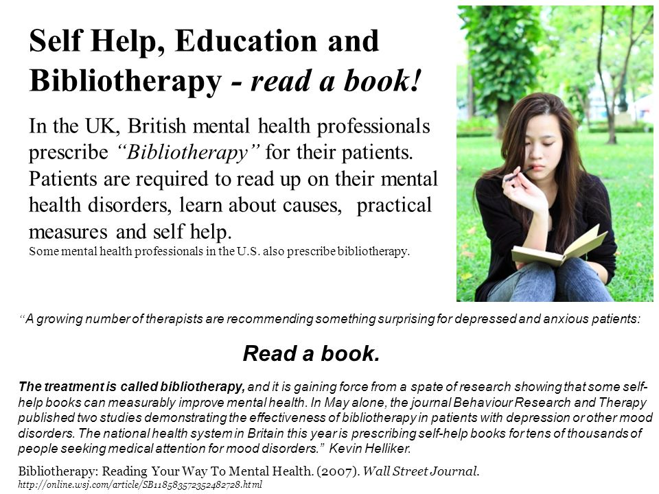 Self Help, Education and Bibliotherapy - read a book