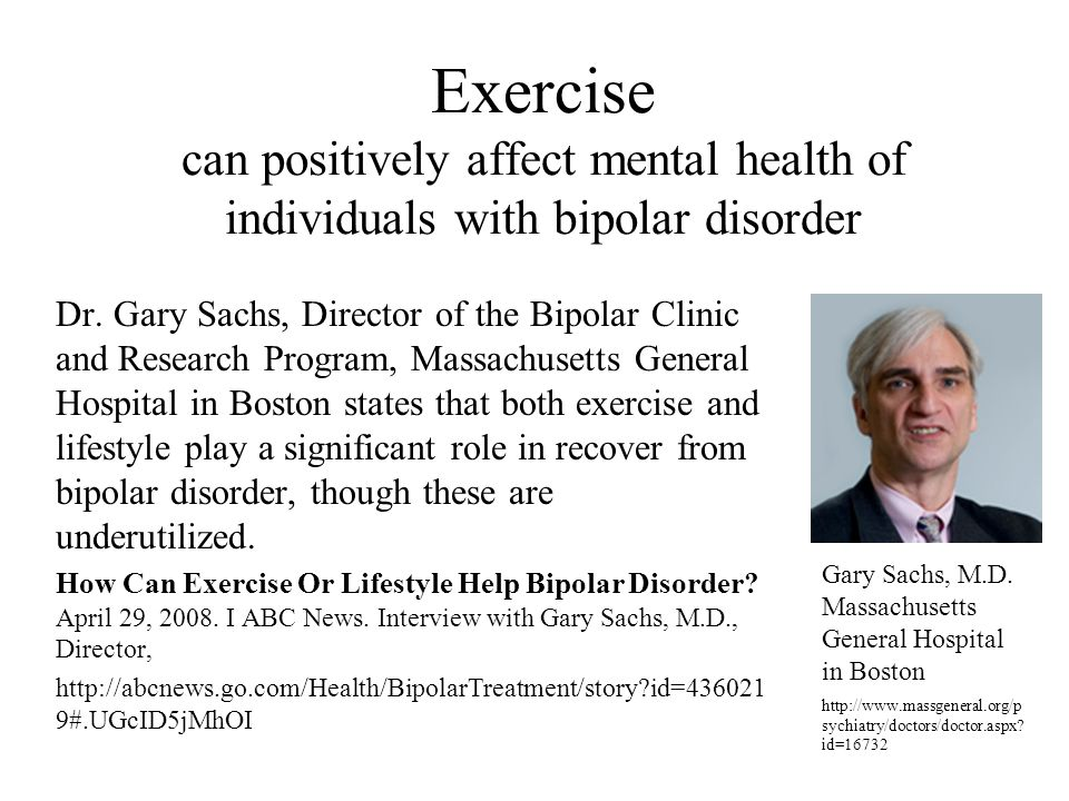 Exercise can positively affect mental health of individuals with bipolar disorder