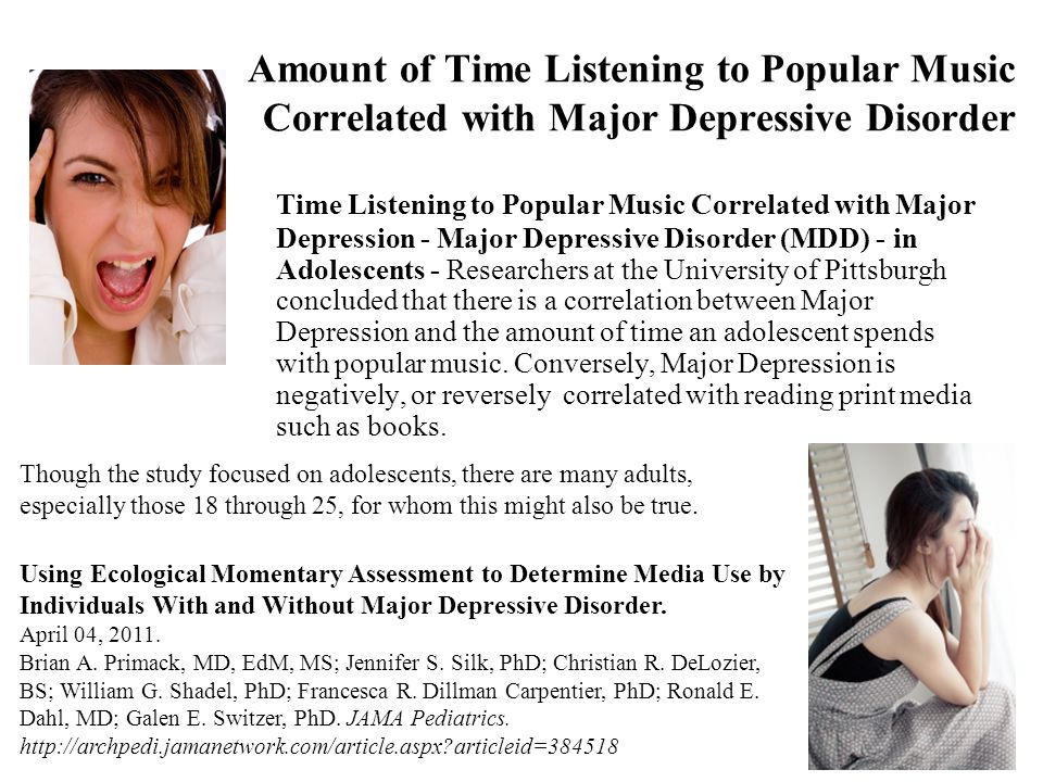 Amount of Time Listening to Popular Music Correlated with Major Depressive Disorder