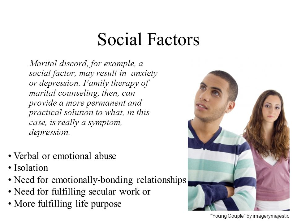 Social Factors Verbal or emotional abuse Isolation