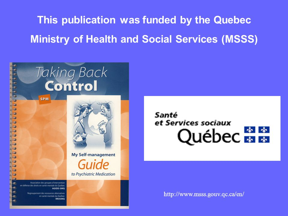 This publication was funded by the Quebec Ministry of Health and Social Services (MSSS)