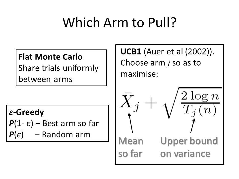 Which Arm to Pull Mean so far Upper bound on variance