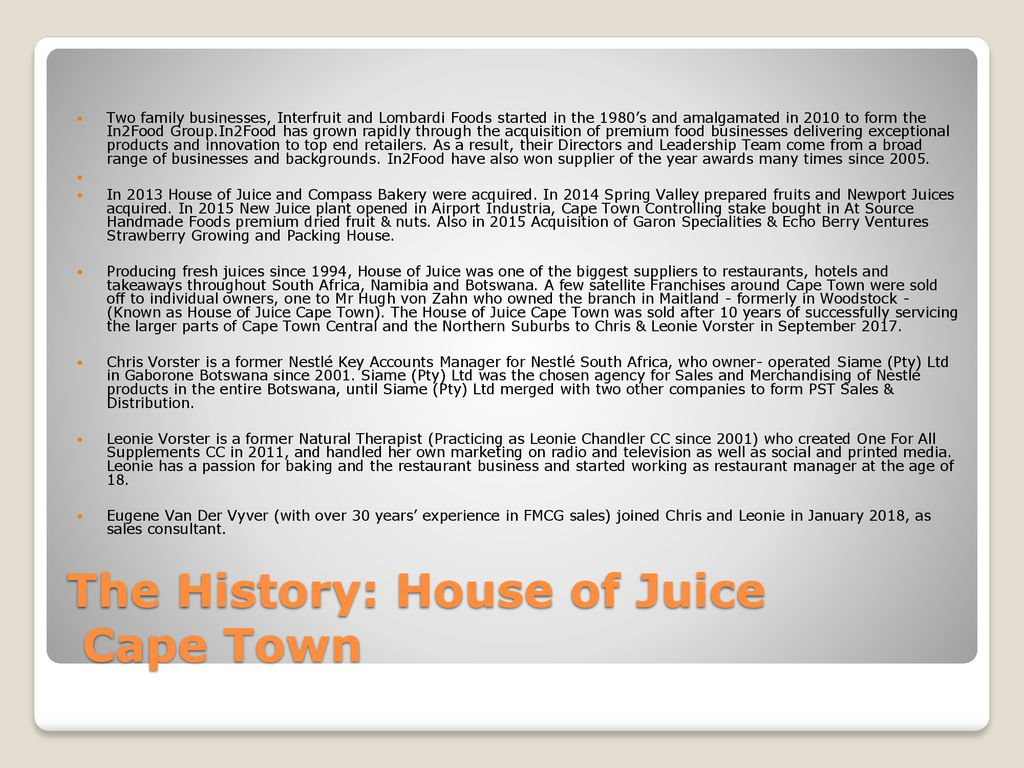 House of Juice Cape Town - ppt download