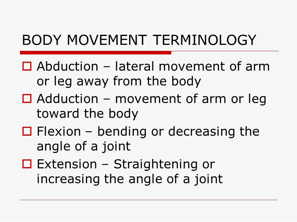 BODY MOVEMENT TERMINOLOGY