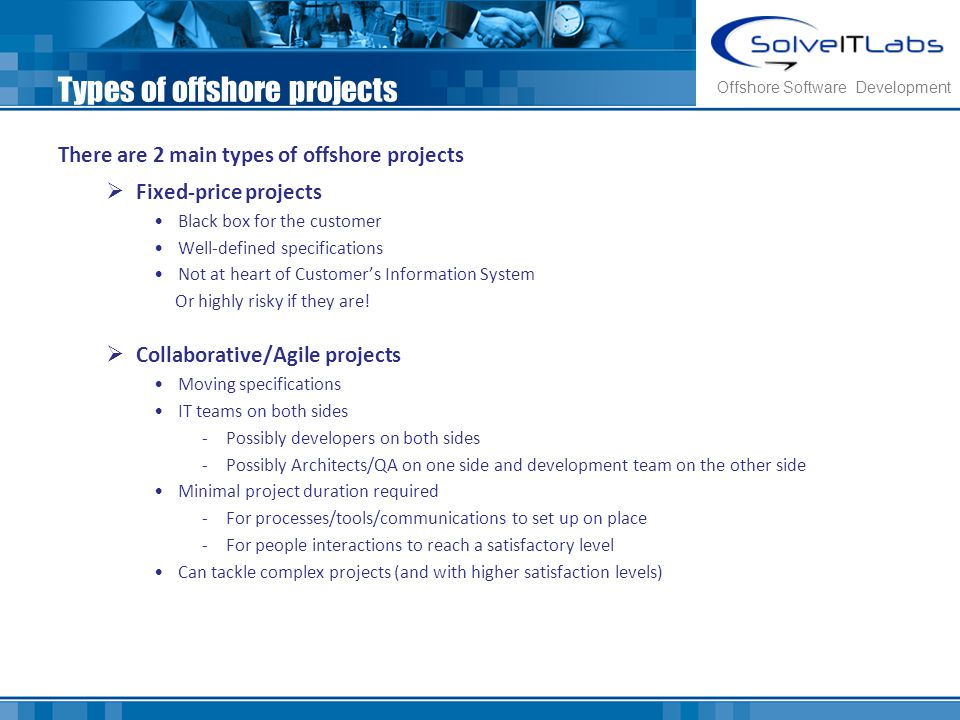 Types of offshore projects