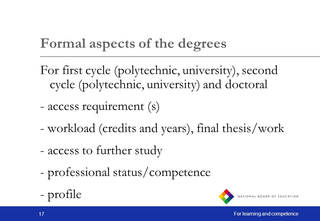 Formal aspects of the degrees